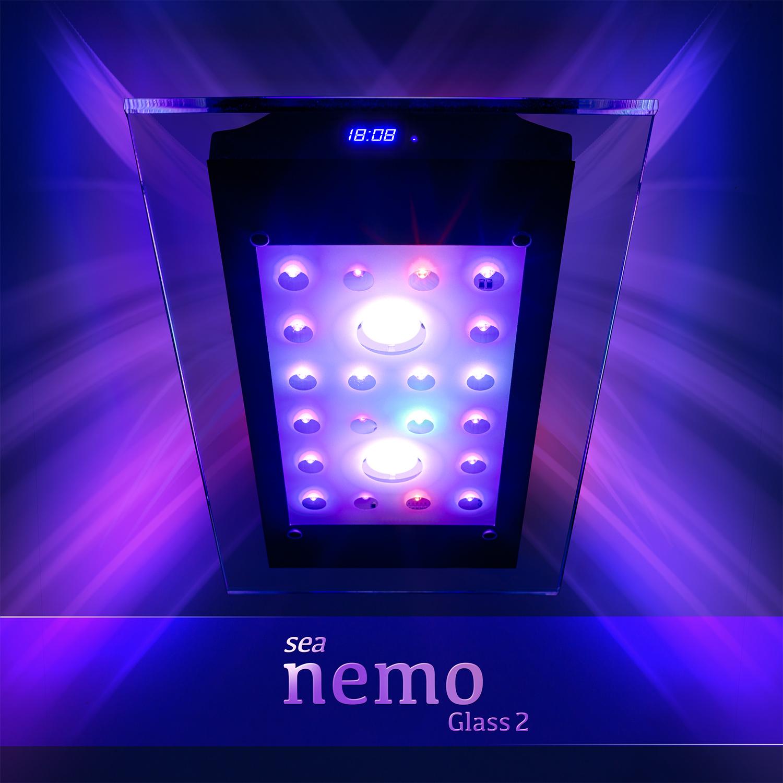 sea nemo glass 2 led korallen meerwasser aquarium beleuchtung lampe esmart ebay. Black Bedroom Furniture Sets. Home Design Ideas