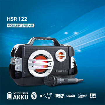 HAISER HSR 122 Party Lautsprecher Karaoke Anlage Mikrofon Bluetooth USB SD